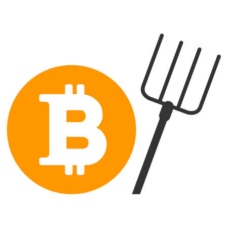 Bitcoin Pitchfork flat raster illustration. An isolated illustration on a white background. Zdjęcie Seryjne