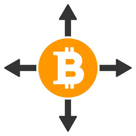 Bitcoin Directions flat raster pictograph. An isolated illustration on a white background.