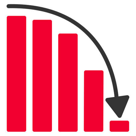 Falling Acceleration Chart flat raster pictograph. An isolated illustration on a white background.