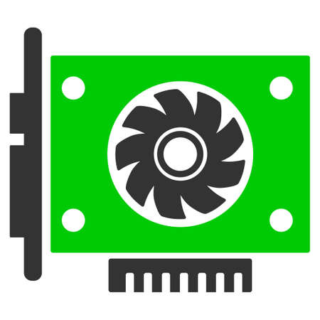Gpu Card flat raster icon. An isolated illustration on a white background.