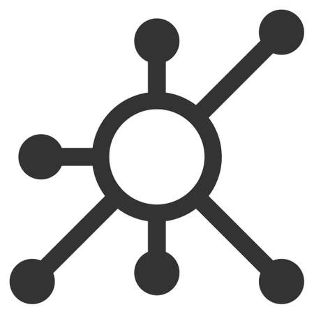 Network Node flat raster icon. An isolated illustration on a white background.