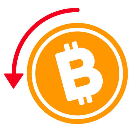 フラットなラスター アイコン Bitcoin 現金を返金いたします。白い背景の上の隔離されたイラスト。