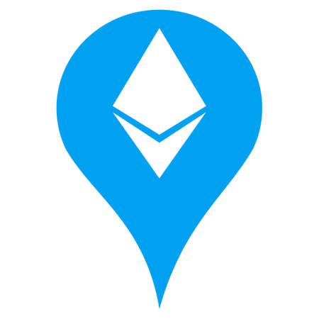 Ethereum Map Marker flat vector icon. An isolated illustration on a white background. Illustration