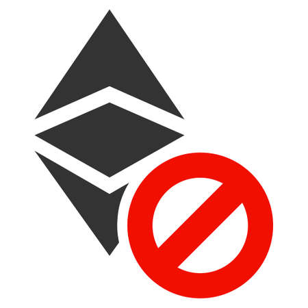 Forbidden Ethereum Classic flat vector pictograph. An isolated illustration on a white background.