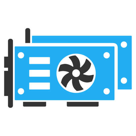 Gpu Video Cards flat vector pictograph. An isolated illustration on a white background.  イラスト・ベクター素材