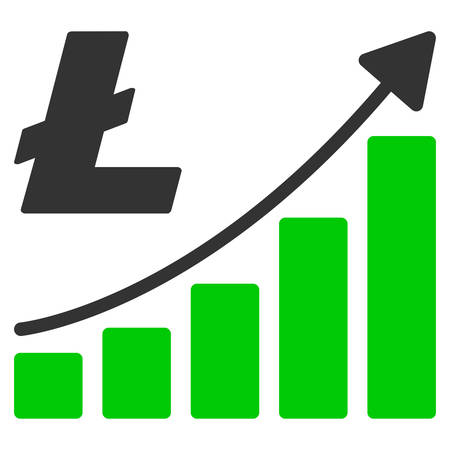 Litecoin Growth Trend flat vector pictogram. An isolated illustration on a white background. Vector Illustration