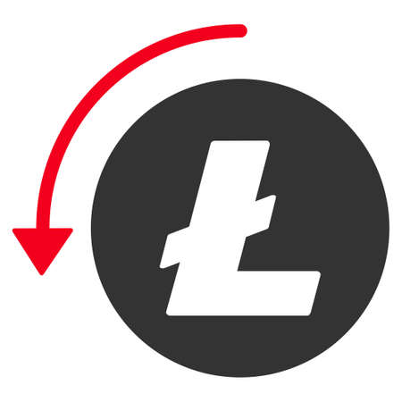 Refund Litecoin flat vector illustration. An isolated illustration on a white background. Иллюстрация