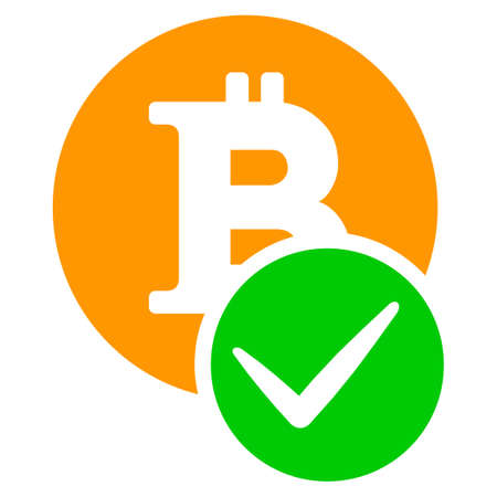 Valid Bitcoin flat raster pictogram. An isolated illustration on a white background.