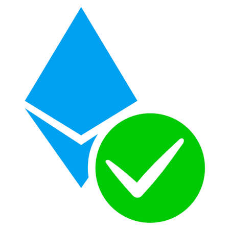 Valid Ethereum Crystal flat raster pictograph. An isolated illustration on a white background.