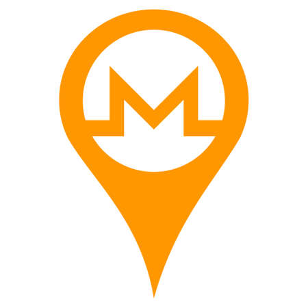 Monero Map Pointer flat vector pictograph. An isolated illustration on a white background. Illustration
