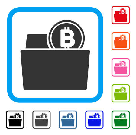 Bitcoin Folder icon. Flat grey pictogram symbol in a blue rounded squared frame. Black, gray, green, blue, red, orange color additional versions of bitcoin folder vector.
