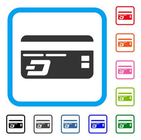 Dash Bank Card-pictogram. Vlak grijs iconisch symbool in een blauwe rond gemaakte rechthoek. Zwarte, grijze, groene, blauwe, rode, oranje kleurenvarianten van Dash Bank Card-vector. Ontworpen voor web- en app-gebruikersinterfaces.