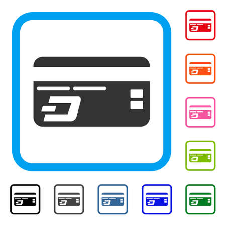 Dash Bank Card icon. Flat gray iconic symbol in a blue rounded rectangle. Black, gray, green, blue, red, orange color variants of Dash Bank Card vector. Designed for web and app user interface. Illustration