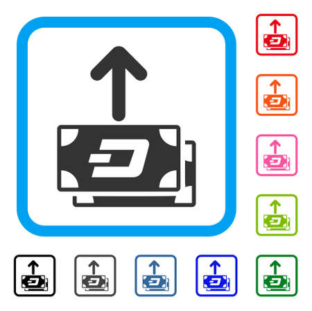 Dash Banknotes Pay Out icon. Flat gray iconic symbol in a blue rounded square. Black, gray, green, blue, red, orange color versions of Dash Banknotes Pay Out vector.