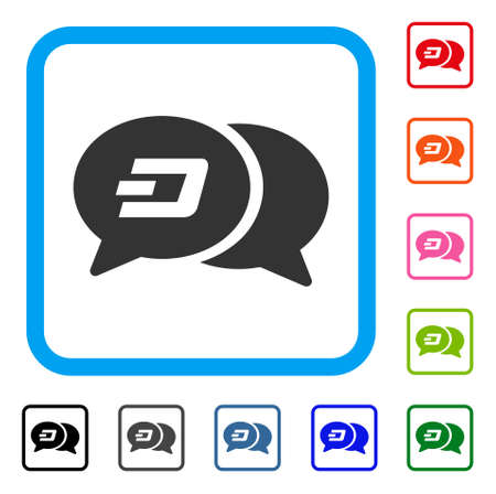 Dash chat messages icon. Flat gray pictogram symbol inside a blue rounded rectangular frame. Black, gray, green, blue, red, orange color variants of dash chat messages vector. Vectores
