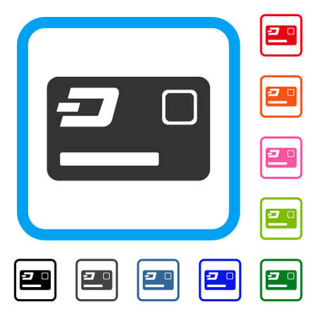 Dash Credit Card icon. Flat gray iconic symbol in a blue rounded rectangular frame. Black, gray, green, blue, red, orange color versions of Dash Credit Card vector. Designed for web and app UI.