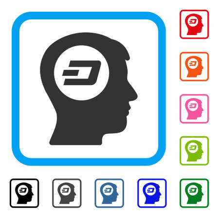 Dash Think icon. Flat gray pictogram symbol inside a blue rounded rectangle. Black, gray, green, blue, red, orange color additional versions of Dash Think vector.