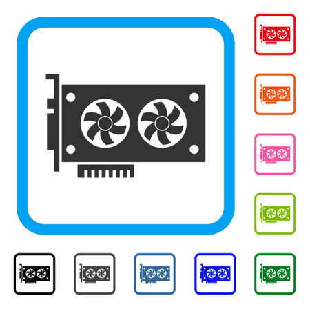 Dual Gpu video card icon. Flat gray iconic symbol in a blue rounded rectangular frame. Black, gray, green, blue, red, orange color additional versions of Dual Gpu video card vector.