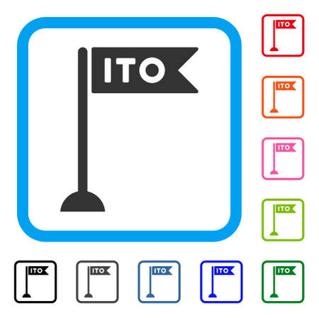 ITO flag marker icon. Flat gray pictogram symbol in a blue rounded frame. Black, gray, green, blue, red, orange color additional versions of ITO chart vector.