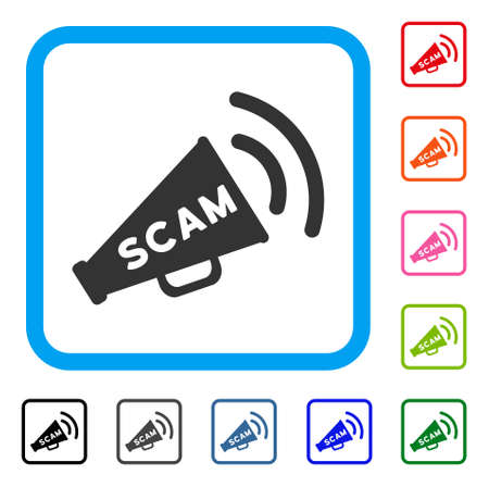 Scam alert megaphone icon. Flat grey iconic symbol inside a blue rounded squared frame. Black, gray, green, blue, red, orange color versions of scam alert megaphone vector.