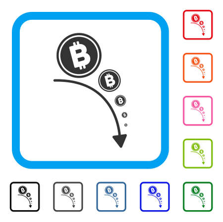 Bitcoin Deflation Trend icon. Flat grey iconic symbol inside a blue rounded rectangle. Black, gray, green, blue, red, orange color versions of Bitcoin Deflation Trend vector.