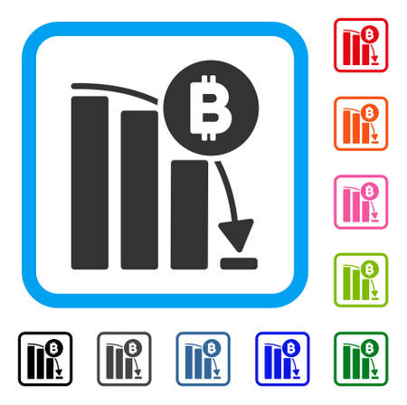 Bitcoin Panic Fall Chart icon. Flat gray pictogram symbol in a blue rounded square. Black, gray, green, blue, red, orange color versions of Bitcoin Panic Fall Chart vector.