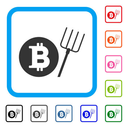 Bitcoin Pitchfork icon. Flat grey iconic symbol inside a blue rounded rectangular frame. Black, gray, green, blue, red, orange color versions of Bitcoin Pitchfork vector.