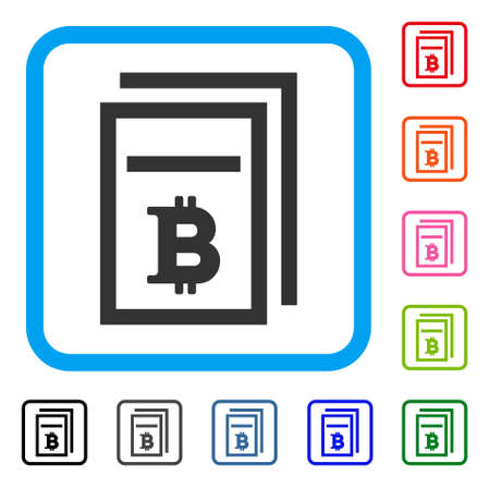 Bitcoin Price Pages icon. Flat gray iconic symbol inside a blue rounded frame. Black, gray, green, blue, red, orange color additional versions of Bitcoin Price Pages vector.