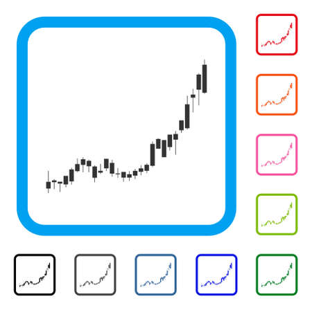 Candlestick Chart Growth Acceleration icon. Flat grey pictogram symbol inside a blue rounded frame.