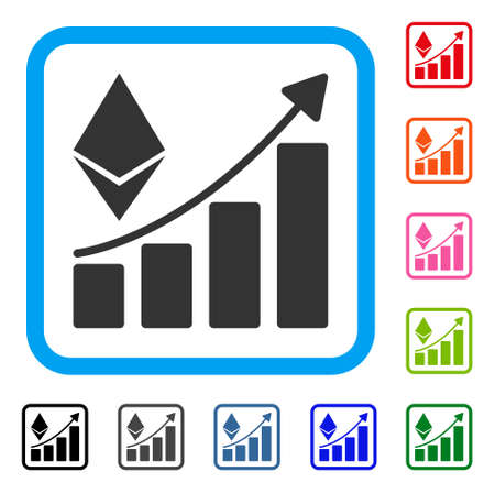 Ethereum Growth Trend icon. Flat gray pictogram symbol in a blue rounded squared frame. Black, gray, green, blue, red, orange color additional versions of Ethereum Growth Trend vector.