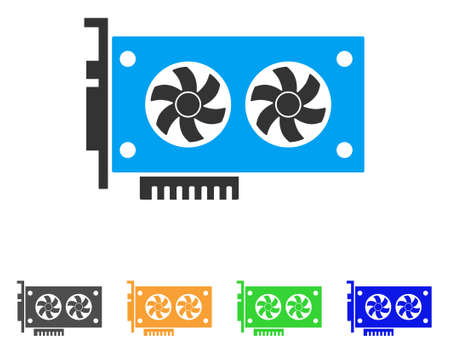 Dual Gpu video card icon illustration. 向量圖像