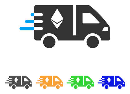 Express Ethereum Delivery Car icon. Vector illustration style is a flat iconic express ethereum delivery car symbol with grey, green, blue, yellow color versions.