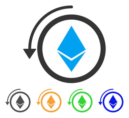 Refund Ethereum Crystall icon. Vector illustration style is a flat iconic refund ethereum crystall symbol with gray, green, blue, yellow color versions. Designed for web and software interfaces.