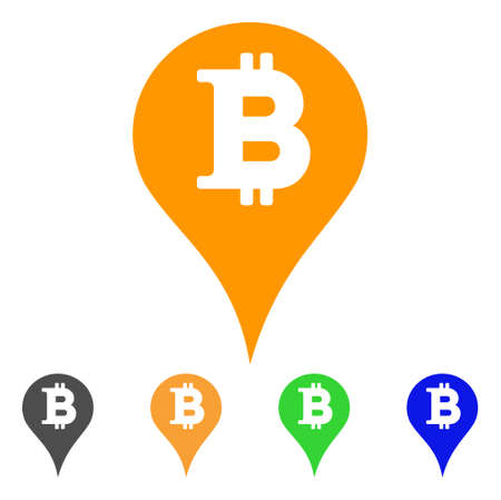 Bitcoin Marker icon. Vector illustration style is a flat iconic bitcoin marker symbol with gray, green, blue, yellow color variants.