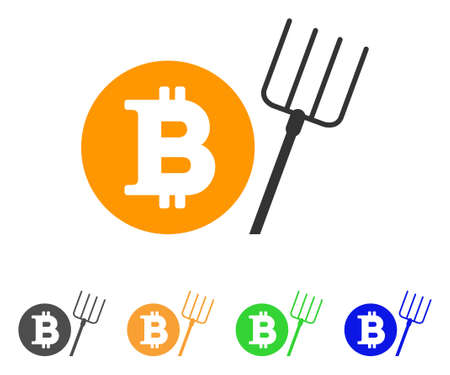Bitcoin Pitchfork icon. Vector illustration style is a flat iconic bitcoin pitchfork symbol with gray, green, blue, yellow color versions.