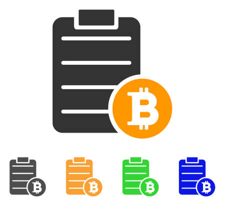 Bitcoin Price List icon. Vector illustration style is a flat iconic bitcoin price list symbol with grey, green, blue, yellow color variants.