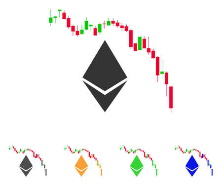 Ethereum Fall Chart icon. Vector illustration style is a flat iconic ethereum fall chart symbol with grey, green, blue, yellow color variants.