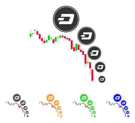 Candlestick Chart Dashcoin Deflation icon. Vector illustration style is a flat iconic Candlestick chart dashcoin deflation symbol. Çizim
