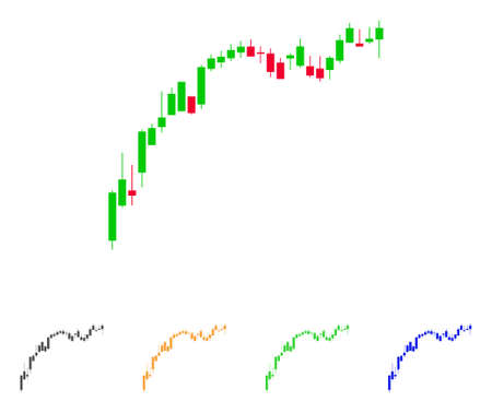 Candlestick Chart Growth Slowdown icon. Vector illustration style is a flat iconic Candlestick chart growth slowdown symbol.