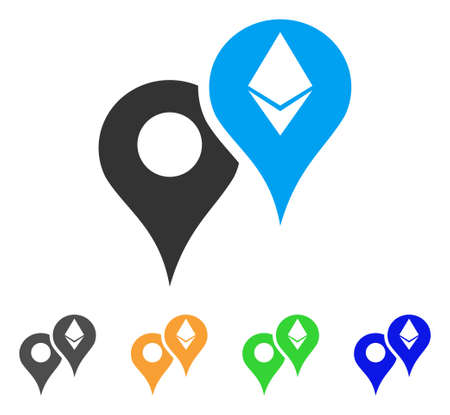 Ethereum Map Markers icon. Vector illustration style is a flat iconic ethereum map markers symbol. Illustration