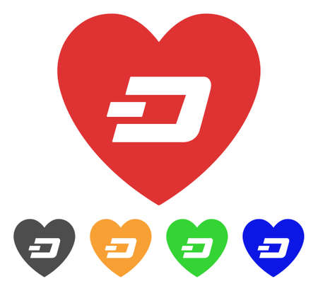 Lovely Dash Heart icon. Vector illustration style is a flat iconic lovely dash heart symbol with gray, green, blue, yellow color versions. Designed for web and software interfaces.