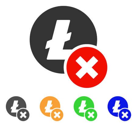 Wrong Litecoin icon. Vector illustration style is a flat iconic wrong litecoin symbol with gray, green, blue, yellow color versions. Designed for web and software interfaces. Illustration