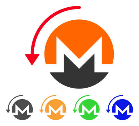 Refund Monero icon. Vector illustration style is a flat iconic refund monero symbol with gray, green, blue, yellow color variants. Designed for web and software interfaces.