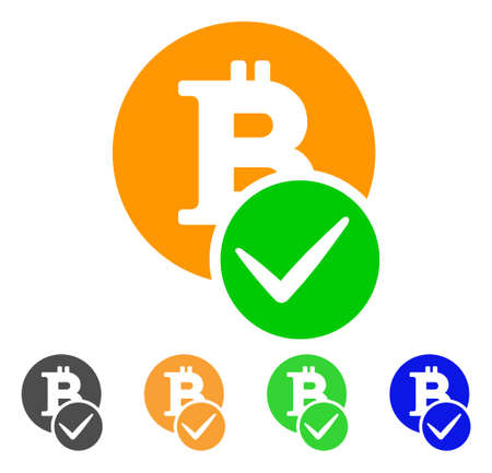 Valid Bitcoin icon. Vector illustration style is a flat iconic valid bitcoin symbol.