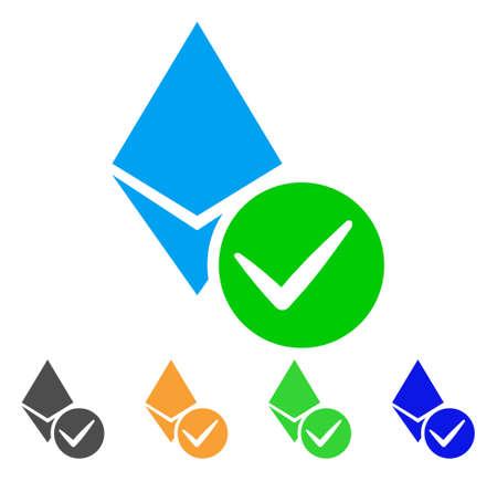 Valid Ethereum Crystal icon. Vector illustration style is a flat iconic valid ethereum crystal symbol. Illustration