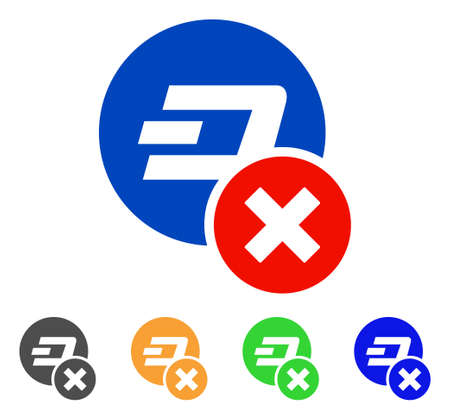 Wrong Dashcoin icon. Vector illustration style is a flat iconic wrong dashcoin symbol. Illustration