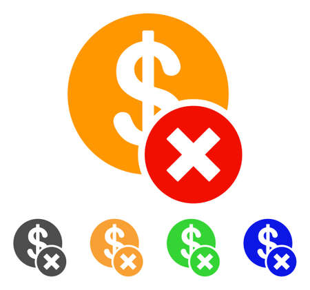 Wrong Dollar icon. Vector illustration style is a flat iconic wrong dollar symbol.