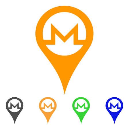 Monero Map Pointer icon. Vector illustration style is a flat iconic monero map pointer symbol.
