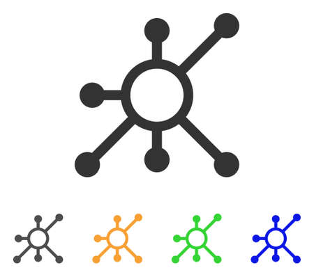Network Node icon. Vector illustration style is a flat iconic network node symbol with gray, green, blue, yellow color versions. Designed for web and software interfaces.