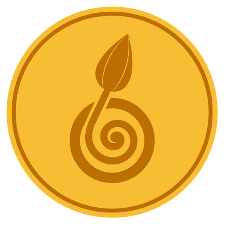 Bud Sprout golden coin icon. Vector style is a gold yellow flat coin symbol.